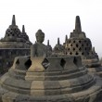 Buddha and stupas — Stock Photo #3620557