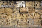 Sandstone wall of Borobudur — Stock Photo