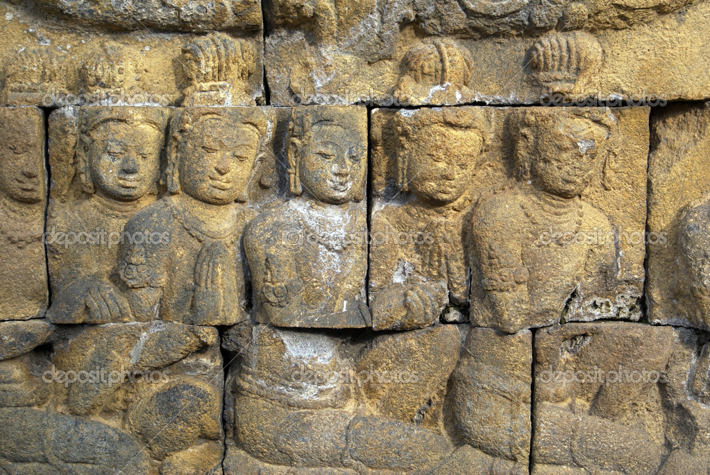 Women on the wall of Borobudur, Java, Indonesia                    — Stock Photo #3620505