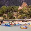 Stock Photo: Cham towers and boats