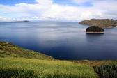 Island and lake Titicaca — Stock Photo