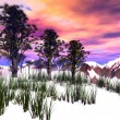 Stock Photo: Fantasy winter landscape with pink sky