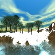 Fantasy island winter scene — Stock Photo