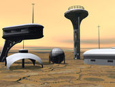 Modern buildings in desert — Stock Photo
