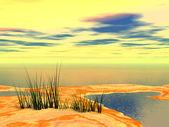 Fantasilandia sabbia con piante e lago — Foto Stock
