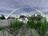 Vinterlandskap med regnbåge — Stockfoto