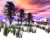 Fantasy winter landscape with pink sky — Stock Photo