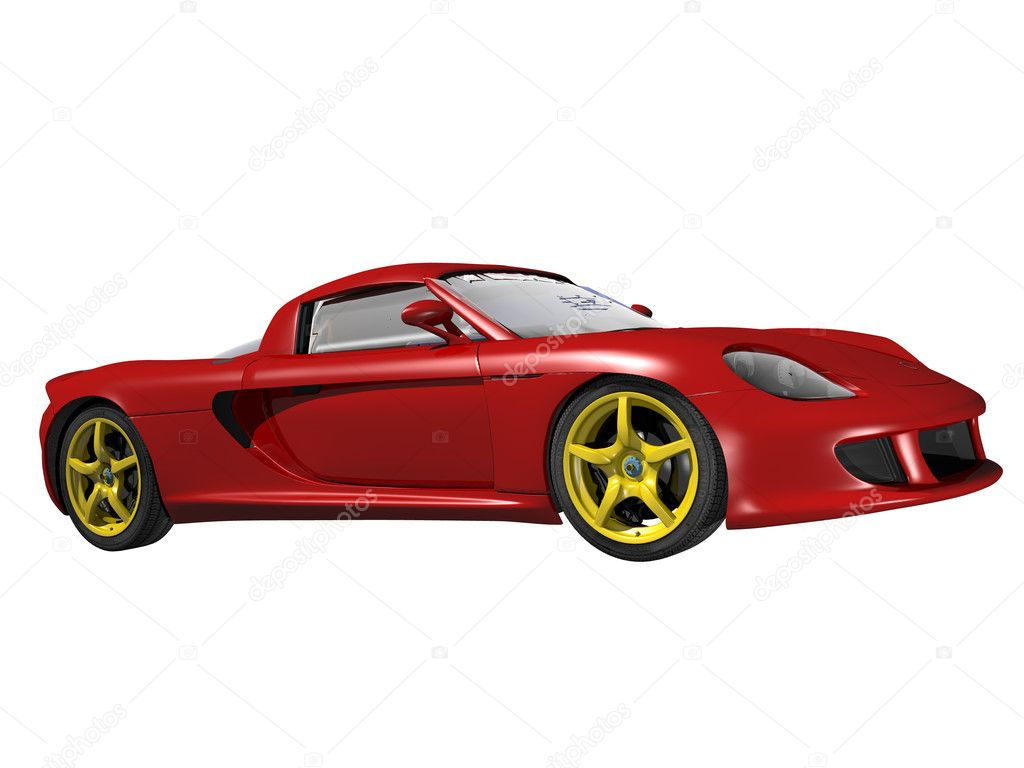 Red sport car isolated on white background — Stock Photo ...