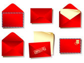Envelope red — Stockvector