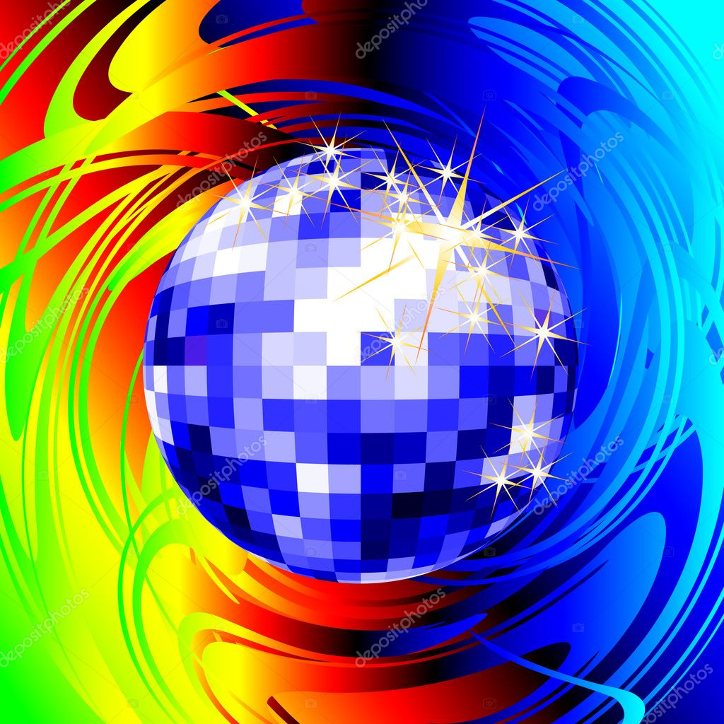 Disco ball, this  illustration may be useful  as designer work — Stockvectorbeeld #3591225