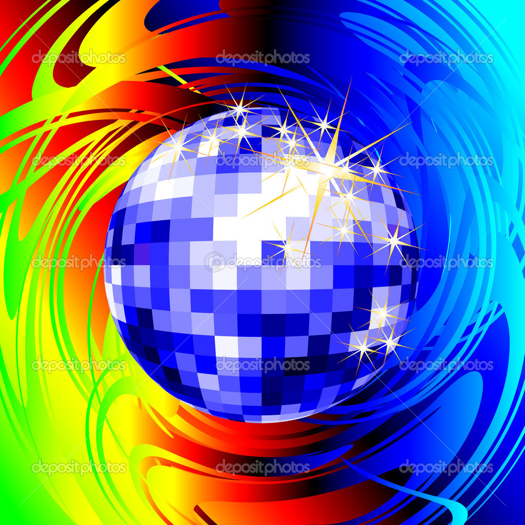 Disco ball, this  illustration may be useful  as designer work  Stok Vektr #3591225