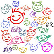 Childlike emoticons - Stock Vector