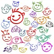 Stock Vector: Childlike emoticons