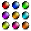 Stock Vector: Buttons colored