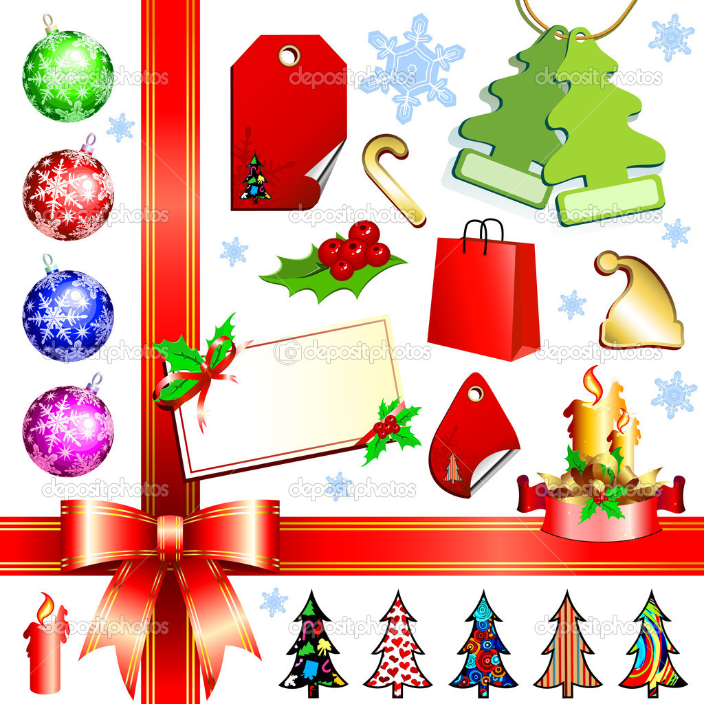 Christmas set, this  illustration may be useful  as designer work — Stok Vektör #3676420