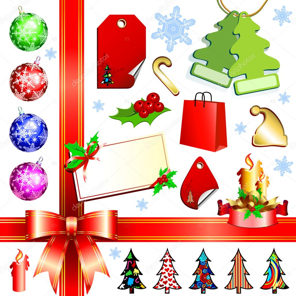 Christmas set, this  illustration may be useful  as designer work — Vektorgrafik #3676420
