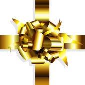 Gold bow decorative — Stock Vector