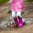 Girl in a puddle - Stock Photo