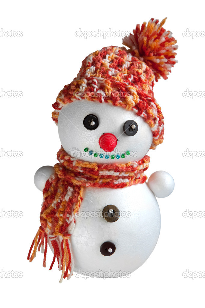 Hand-made foam snowman with red knitted cap and scarf  Stock Photo #3591767