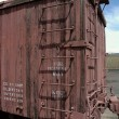 Antigue wooden boxcar - Stock Photo