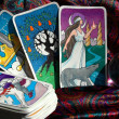 Stock Photo: Tarot cards and crystal ball