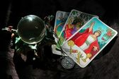 Tarot cards and crystal ball — Stock Photo
