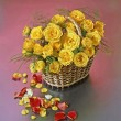 Basket with roses — Stockfoto #3762725