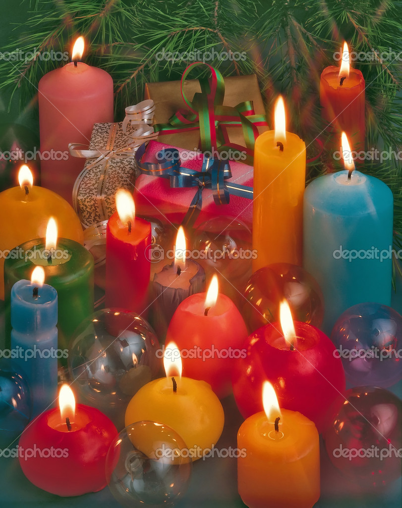 Christmas still-life with a candles and gifts  Stock Photo #3764708