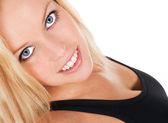 Blond blue eyed fitness girl — Stock Photo