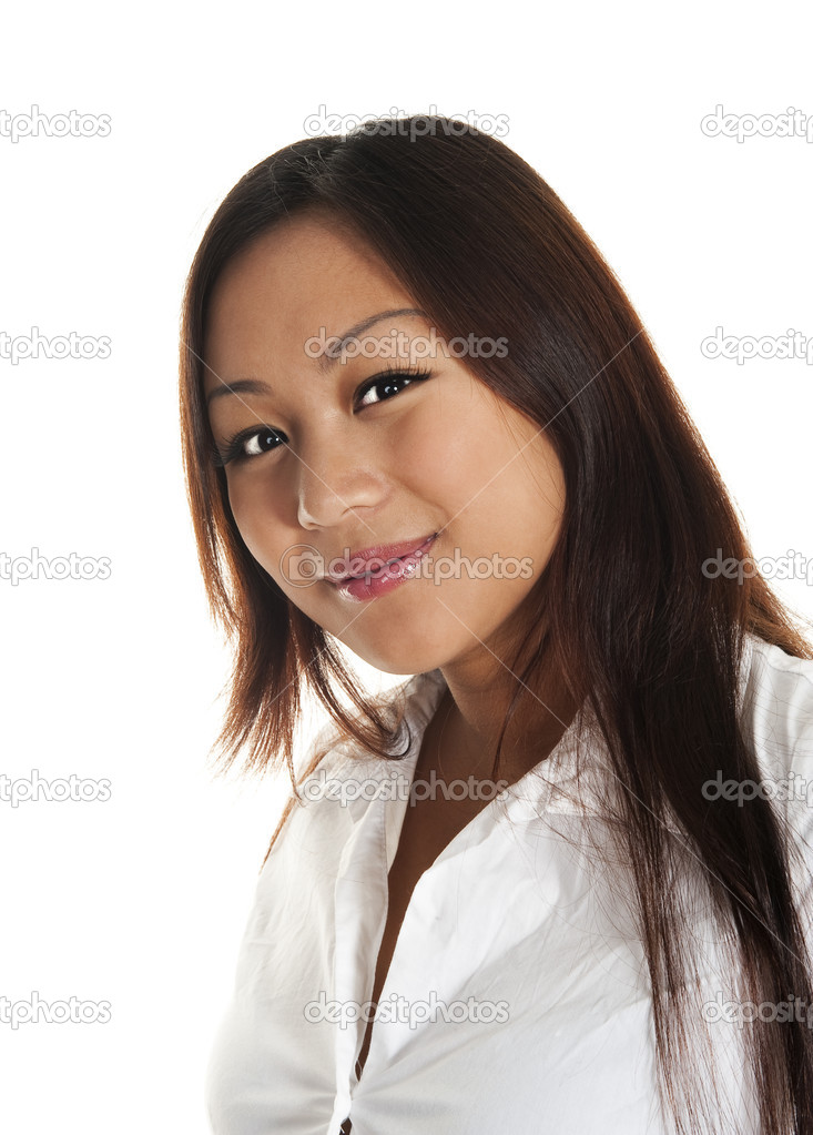 Beautiful asian girl smiling, seen against white background — Stock Photo #3697081