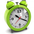 Green alarm clock — Stock fotografie