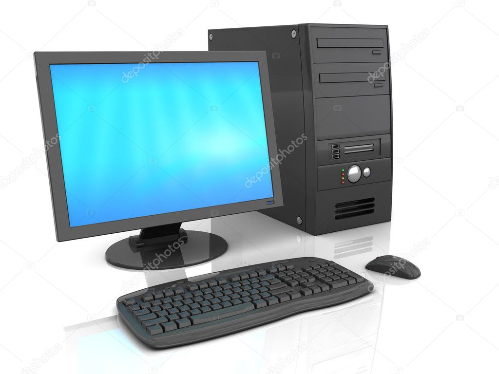 3d illustration of black desktop computer over white background with refelction — Stock Photo #3455620