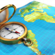 Royalty-Free Stock Photo: Compass and map