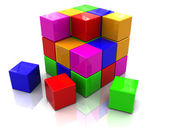 Colorful cube assembling — Stock Photo