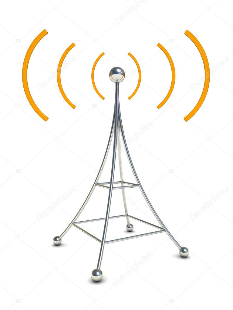 3d illustration of radio antenna symbol over white background — Stock Photo #3504345