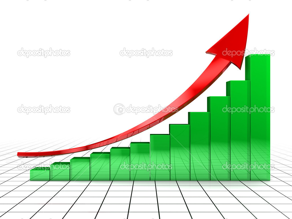 3d illustration of raising charts and arrow, over grid background — Stock Photo #3504410