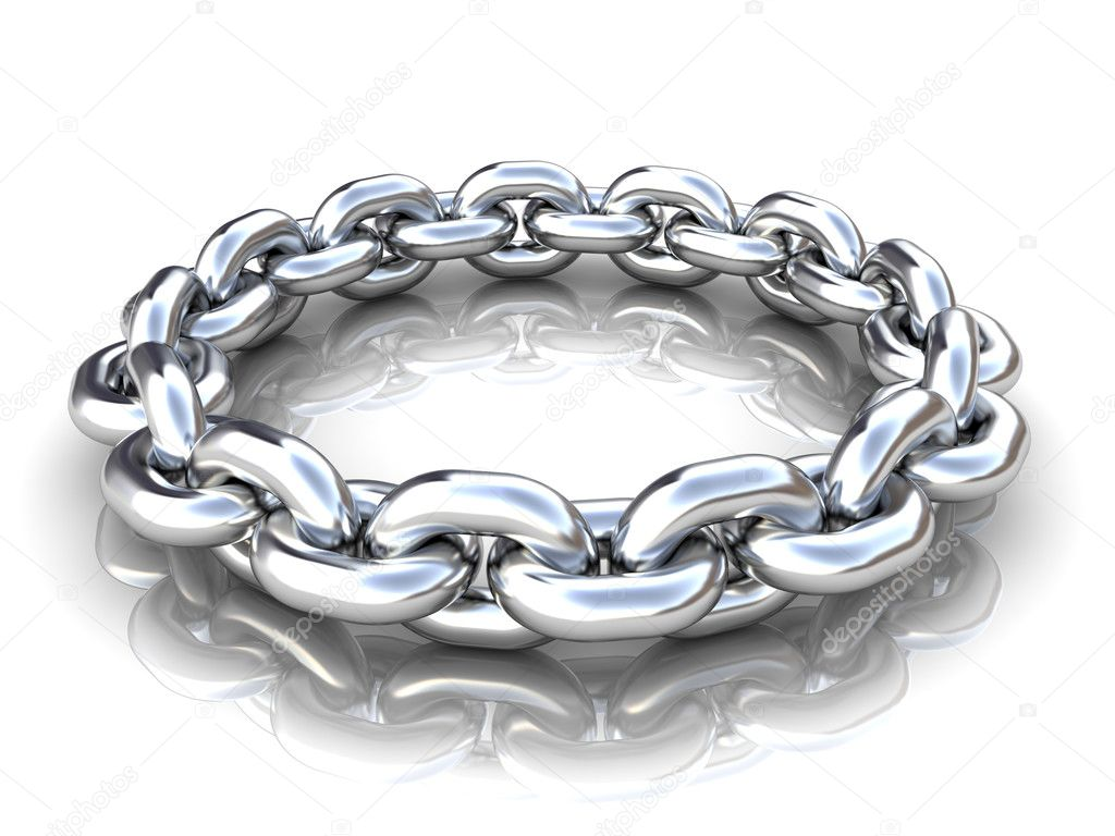 3d illustration of metal chain circle over white background  Stock Photo #3504690