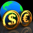 Euro and dollar system — Stock Photo