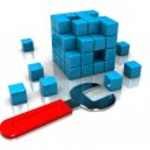 chave inglesa e cubo puzzle — Foto Stock #3555355