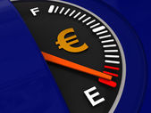 Fuel meter with euro sign — Stock Photo