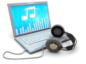 Laptop with music — Stock Photo