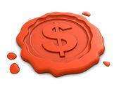 Wax seal with dollar sign — Stock Photo