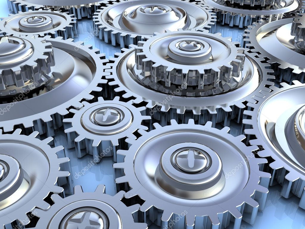 Abstract 3d illustration of steel gear wheels background — Stock Photo #3554325