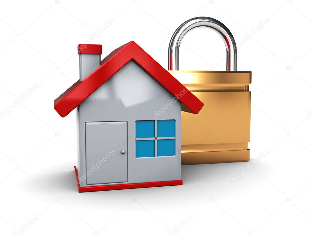 3d illustration of house and lock icon — Stock Photo #3554417