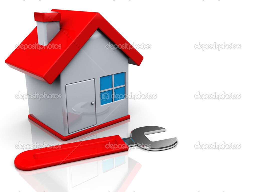 3d illustration of house and wrench, home repair concept  Stock Photo #3554420