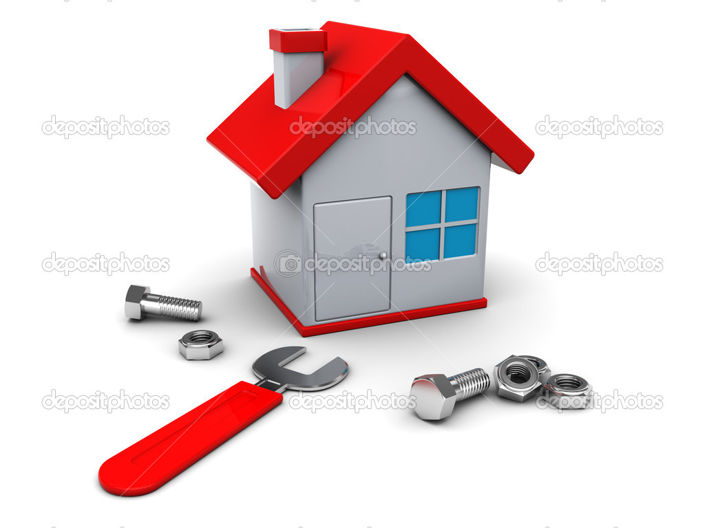 3d illustration of house repair icon or symbol — Stock Photo #3554422