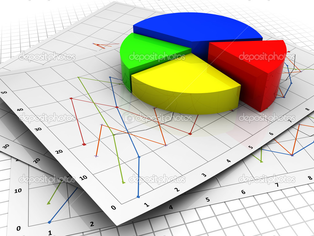 business diagrams   stock photo © mmaxer    abstract d illustration of business diagrams paper and pie chart  photo by mmaxer