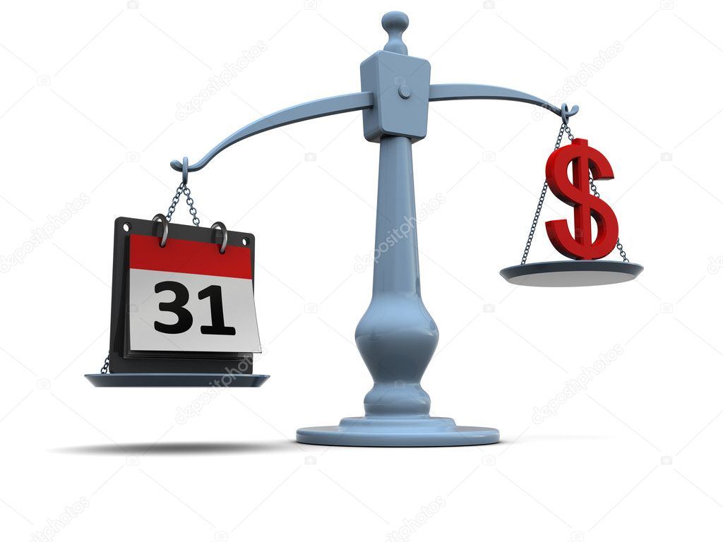 3d illustration of scale with calendar and dollar sign — Stock Photo #3555228
