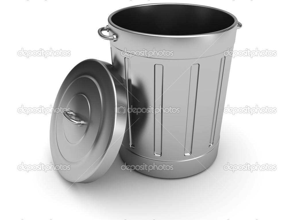 3d illustration of steel trash can over white background  Stock Photo #3555247