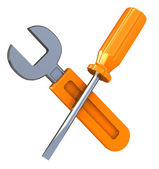 Wrench and screwdriver — Stock Photo